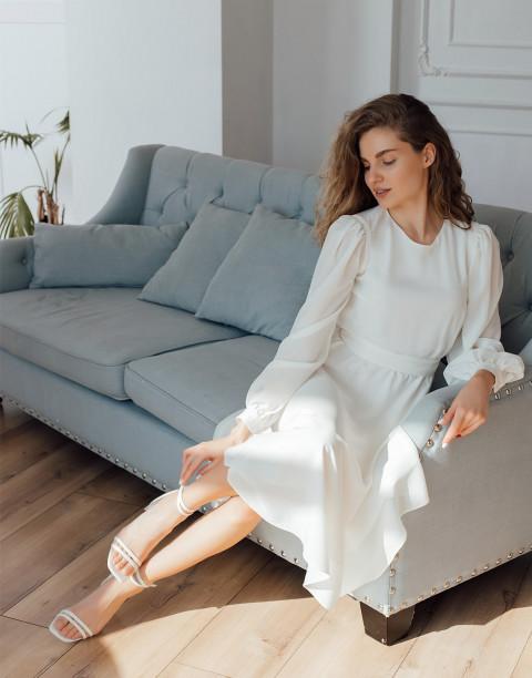 Платье-миди с поясом и манжетами на рукавах