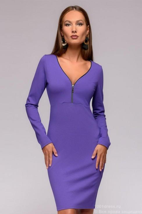 Платье футляр с длинными рукавами и молнией