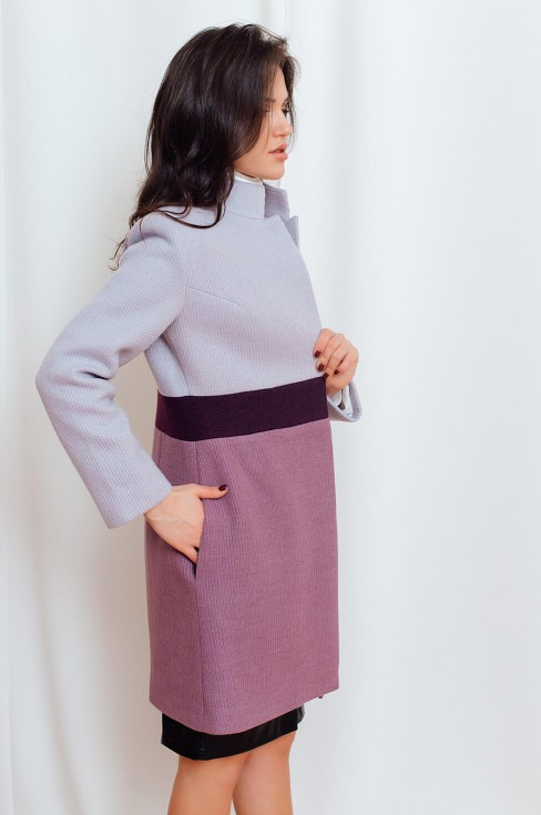 Комбинированное пальто прямого кроя
