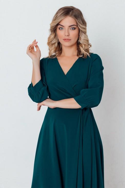 Платье-макси на запах с поясом