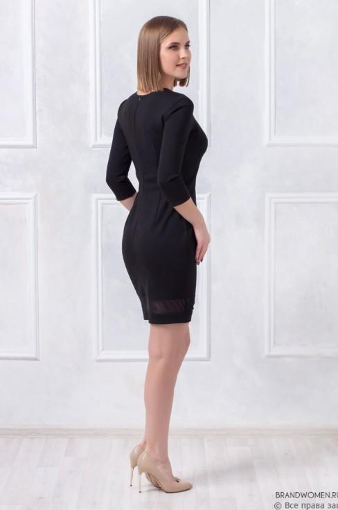 Платье-футляр с фатиновыми вставками
