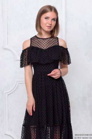 Платье-миди с оборкой на лифе и плечах