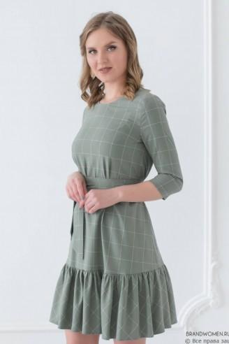 Платье-мини с воланом и поясом в комплекте