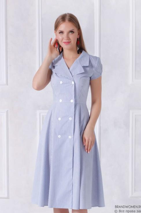 Платье-миди в полоску на пуговицах