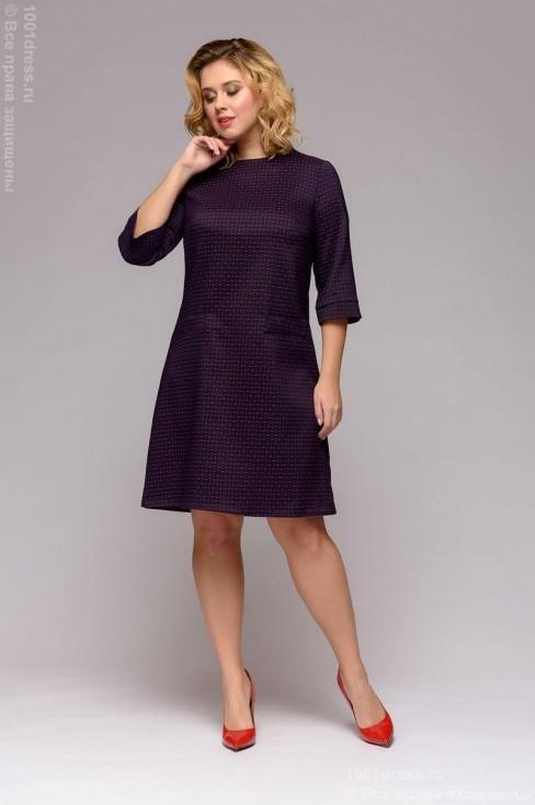 Платье-трапеция c мелким принтом