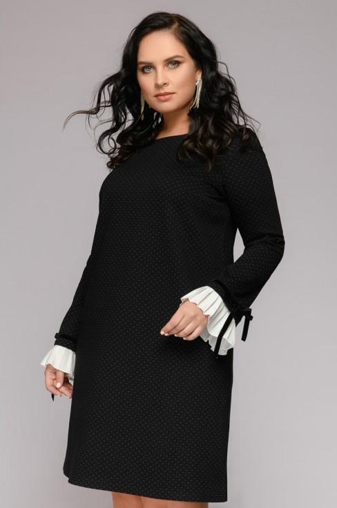 Платье-мини с декоративным манжетом