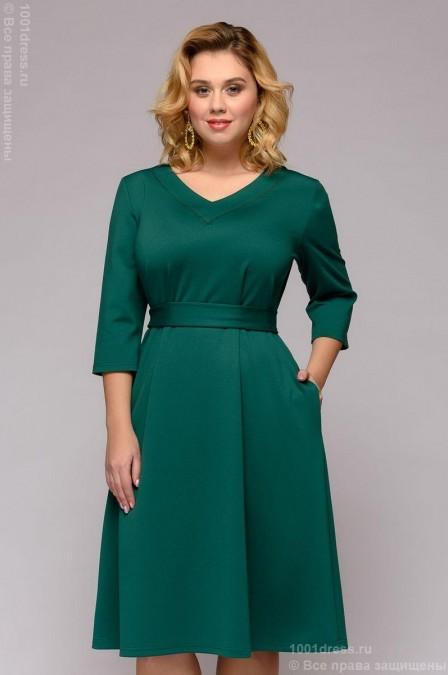 Платье длины миди с карманами