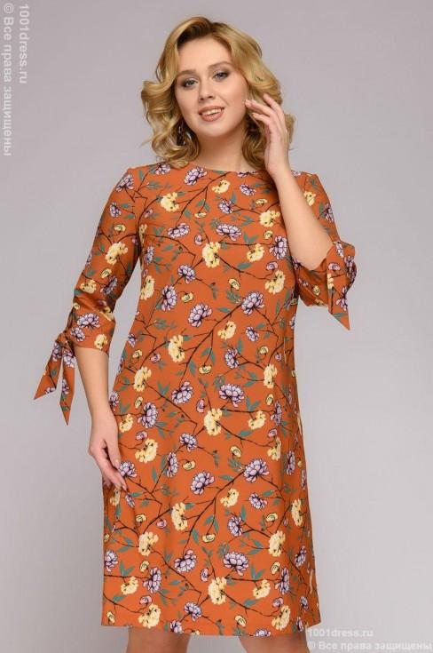 Платье-мини с принтом и завязками на рукавах