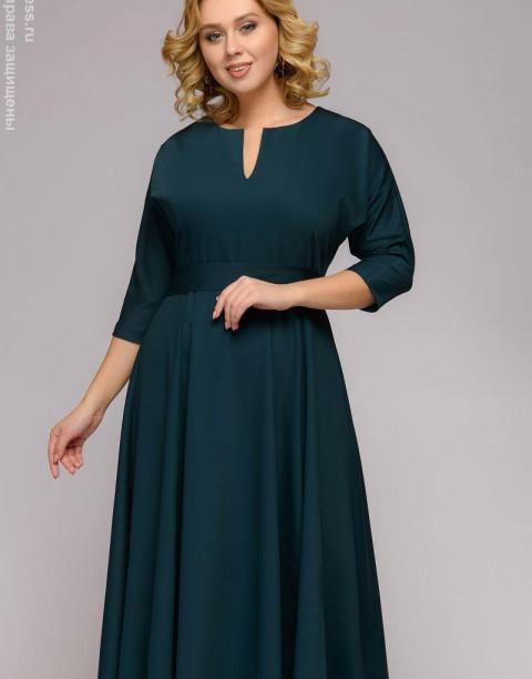 Платье-миди с объемными рукавами и поясом в комплекте