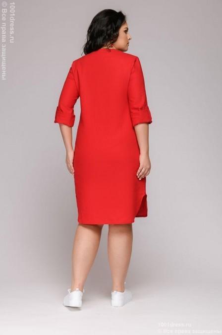 Платье-рубашка с V-образным вырезом с манжетами