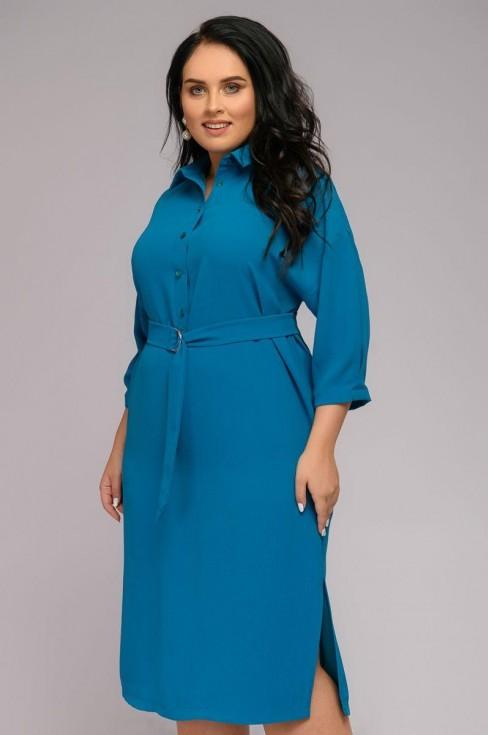 Платье-рубашка с отложным воротником и поясом в комплекте