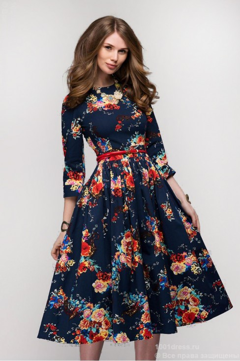 Хлопковое платье-миди с пышной юбкой