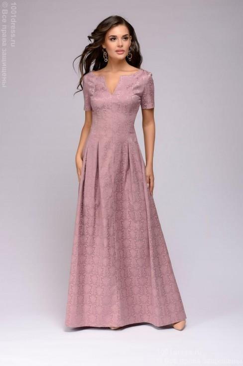 Платье-макси из жаккарда с вырезом на груди