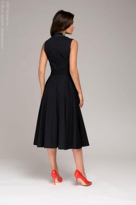 Платье-миди с воротником-стойкой в мелкий горошек