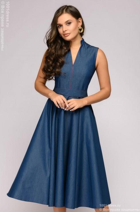 Джинсовое платье-миди с воротником-стойкой