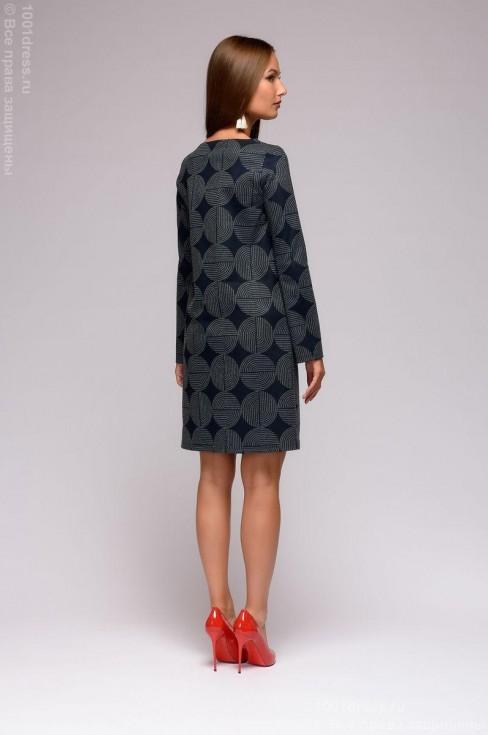 Платье-мини с геометрическим принтом