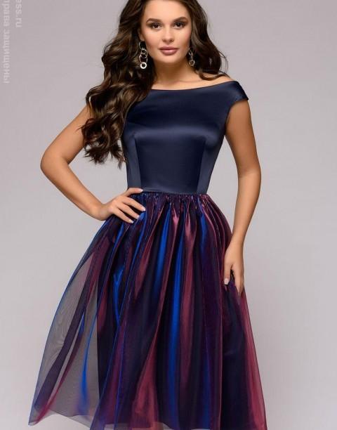 Платье-миди с юбкой с голографическим эффектом