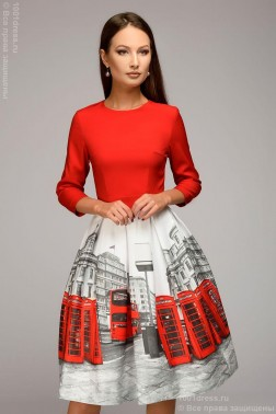 Платье-мини с крупным принтом на юбке