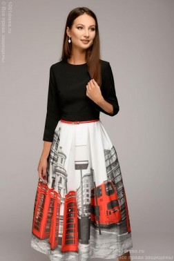 Платье - миди с принтом на юбке