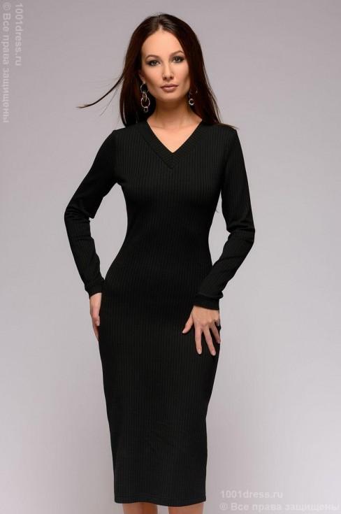 Трикотажное платье-миди с V-образным вырезом