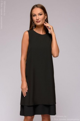 Двухслойное платье-мини без рукавов