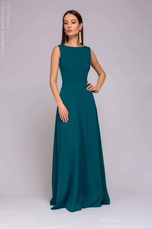 Платье-макси с открытой спиной и декоративным бантиком
