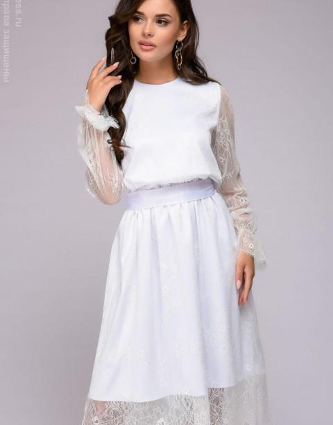Кружевное платье-миди с длинными рукавами