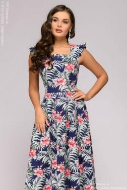 Платье в пол с рукавами-крылышками