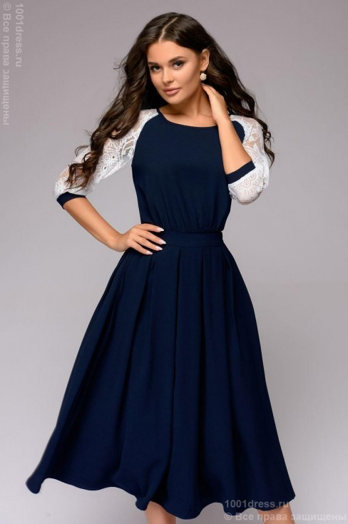 Платье-миди с кружевными вставками