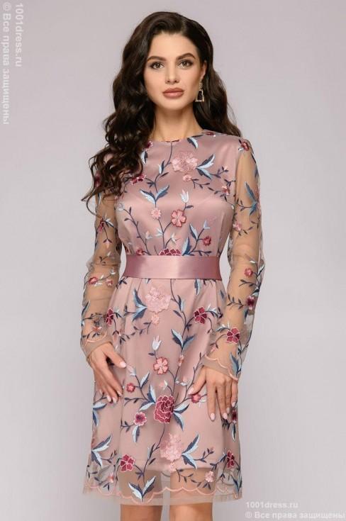 Платье-мини с вышивкой и длинными рукавами