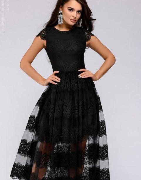 Платье-миди с кружевом и короткими рукавами