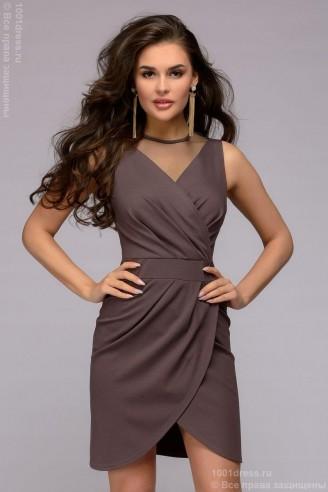 Платье-мини с запахом и отделкой сеткой