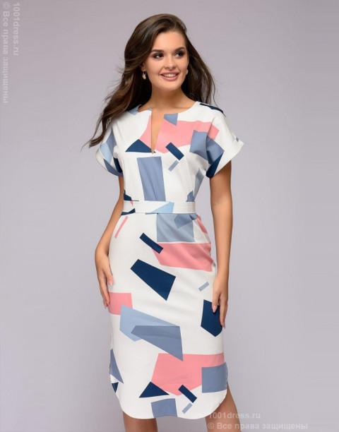 Платье-рубашка с принтом и поясом