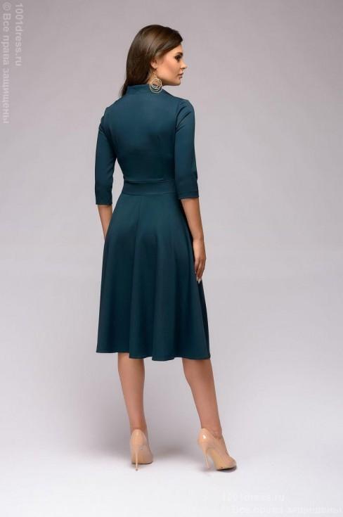 Платье-миди с декоративной отделкой пояса