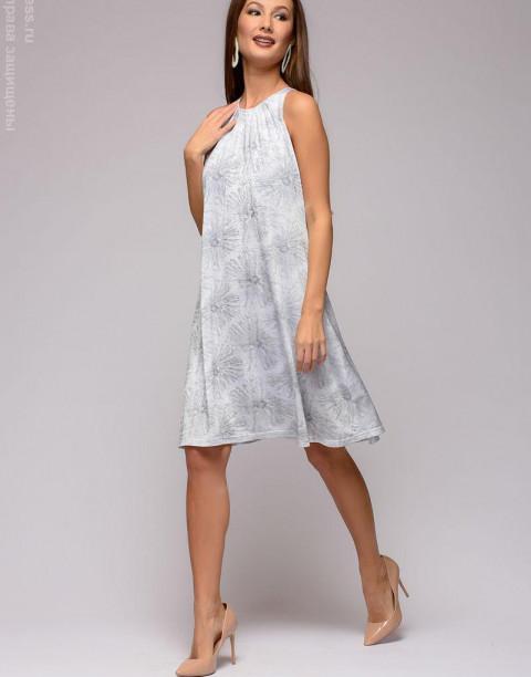 Трикотажное платье-мини без рукавов