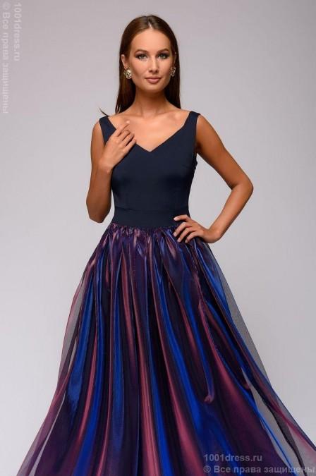 Платье в пол с юбкой с голографическим эффектом