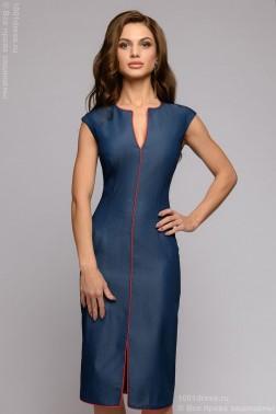 Джинсовое платье-футляр без рукавов