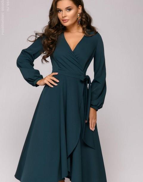 Платье-миди с запахом и длинными рукавами