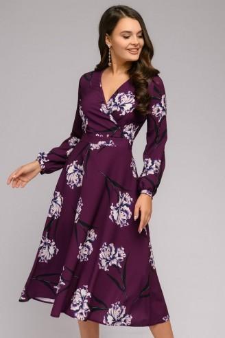 Платье с расклешенной юбкой-миди и длинными рукавами