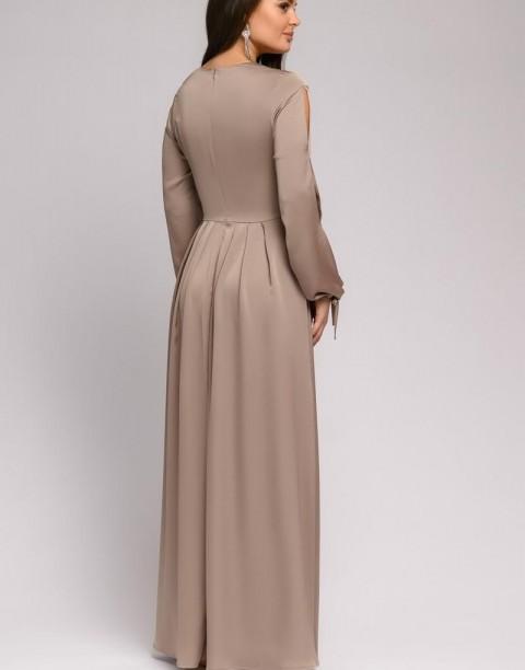 Платье в пол с разрезами на рукавах