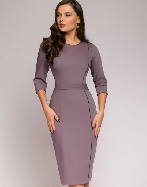 Платье-футляр с контрастным кантом