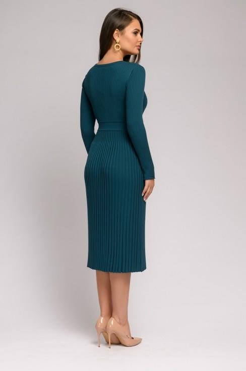 Вязаное платье-миди с юбкой-гофре