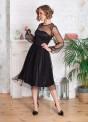 Платье-миди с фатином и шнуровкой на спине