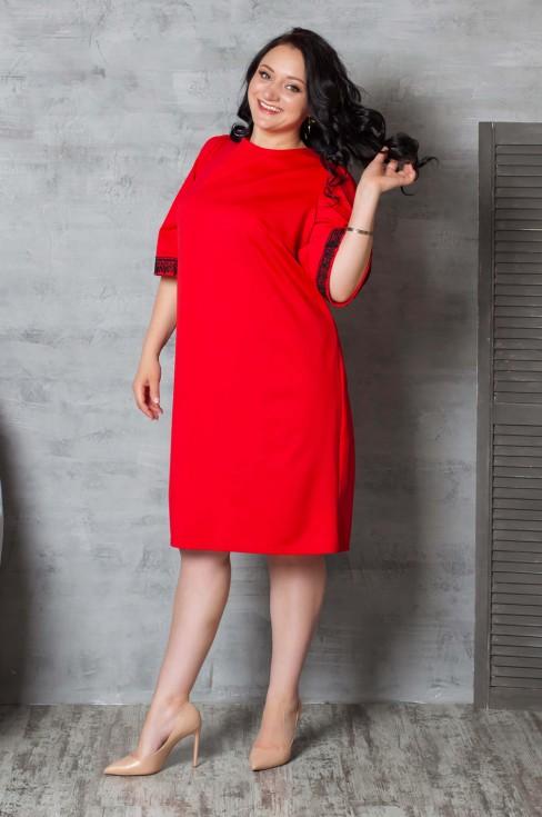 Платье прямого кроя с кружевом на рукавах