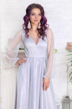 Платье-макси со стразами и длинным рукавом