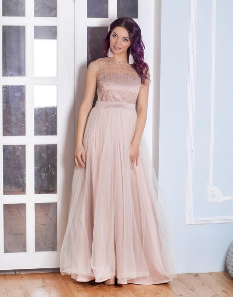 Платье-макси с фатиновой юбкой