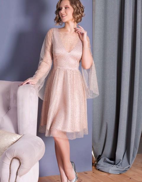 Платье-мини со стразами и разрезами на рукавах
