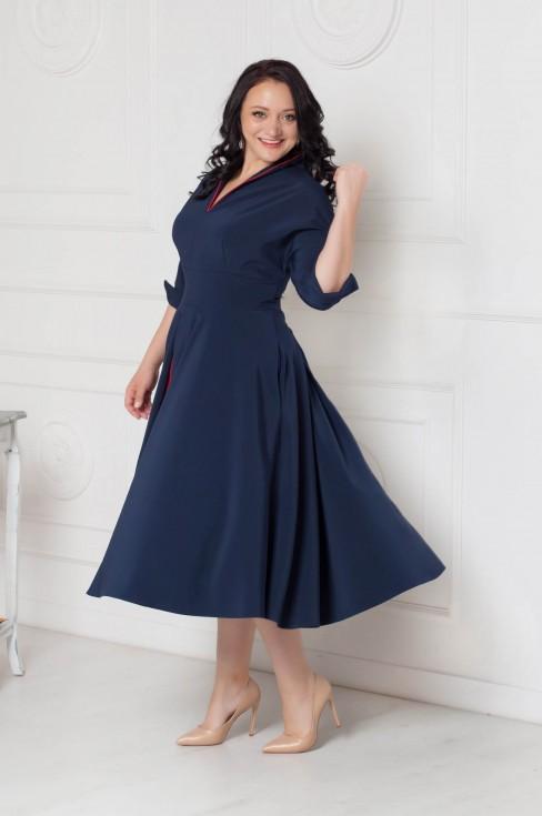 Платье-миди с контрастной вставкой