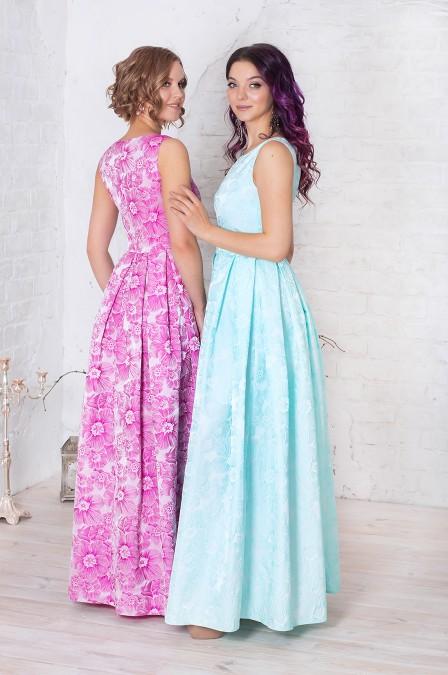 Платье-макси из фактурного жаккарда