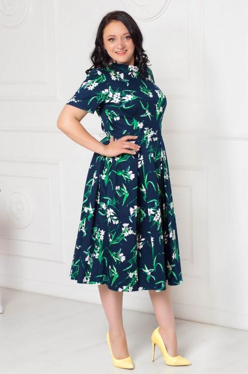 Платье-миди с пышной юбкой и вырезом на спинке